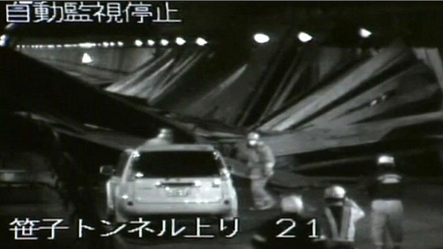 CCTV footage of emergency crews inside the tunnel