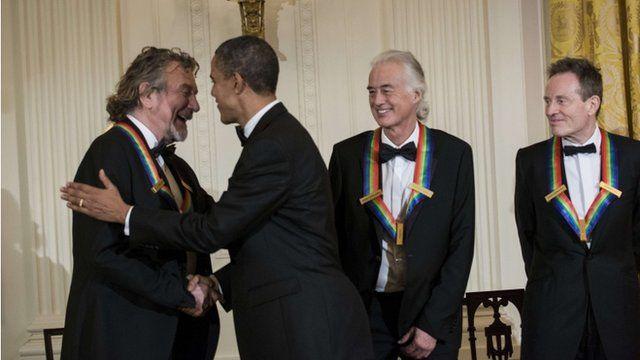 Robert Plant, President Obama, Jimmy Page and John Paul Jones