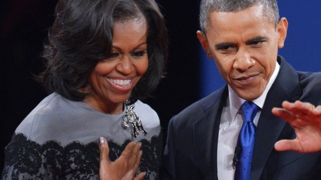 Michelle and Barack Obama at a recent presidential debate in Florida