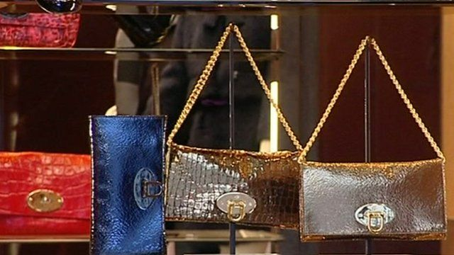 Mulberry bags in window display