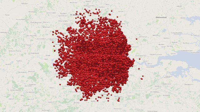 Screen shot of interactive map