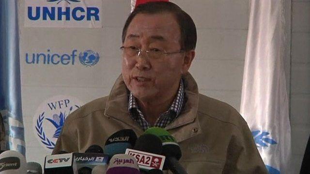 UN Secretary-General, Ban Ki-moon, Zaatari refugee camp in Jordan