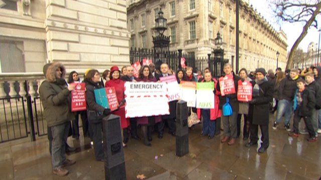 Protesters in Whitehall on Friday