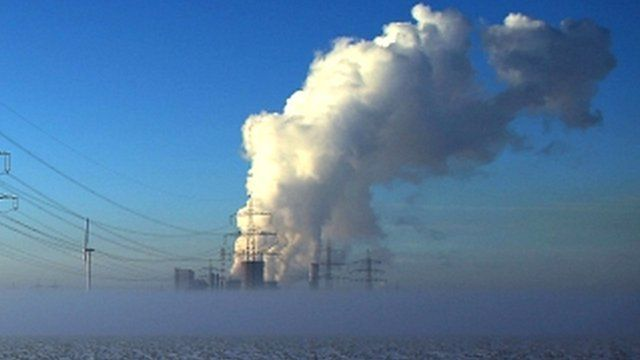 Smoke rising from a power station