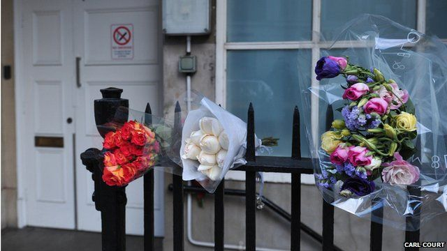 Flowers for Jacintha Saldanha, outside King Edward VII Hospital
