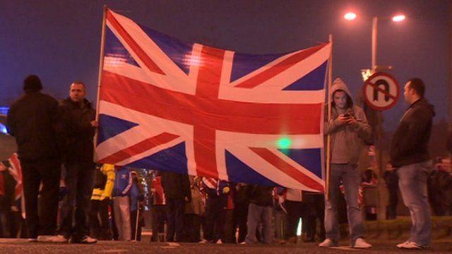 Loyalist protesters in Belfast
