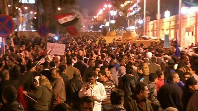 People rallying in Cairo