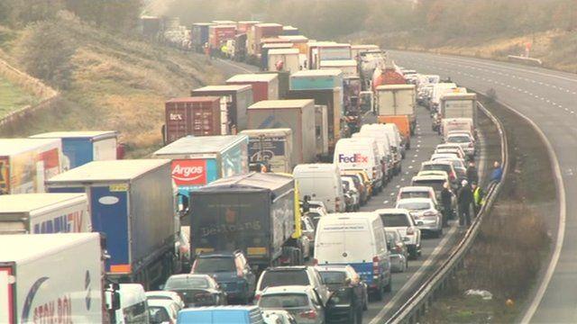 M6 traffic queues following a chemical fire