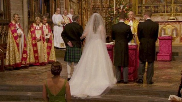 Reverend Dr James Hawkey and his fiancée, Carol Ripley marry at Westminster Abbey's high altar