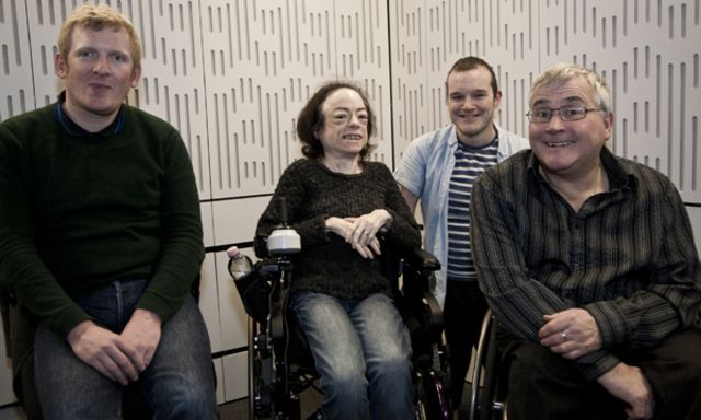 Rob Crossan, Liz Carr, Paul Carter and Tony Garrett in the Ouch! studio.