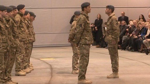 Airmen receiving medals