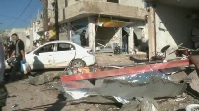 Aftermath of car bomb in Qatana