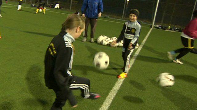 Swedish girls playing football