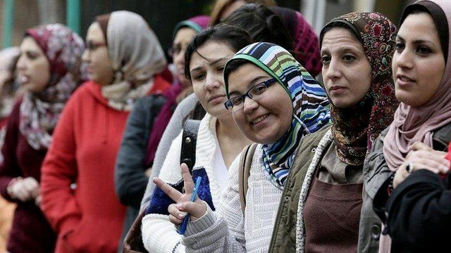 women queuing