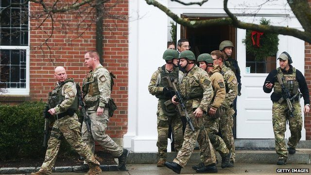 Armed police outside church