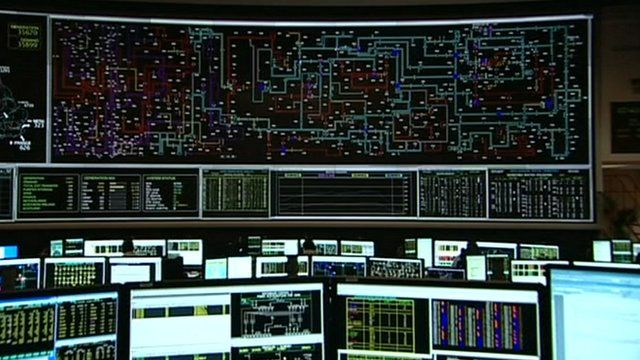 Screen showing national grid