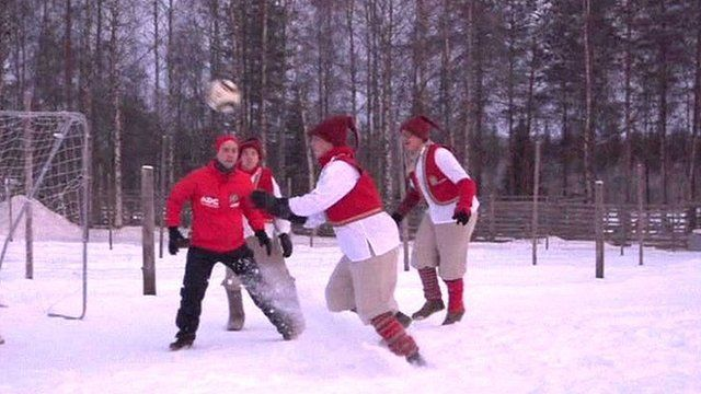 Football players in the snow