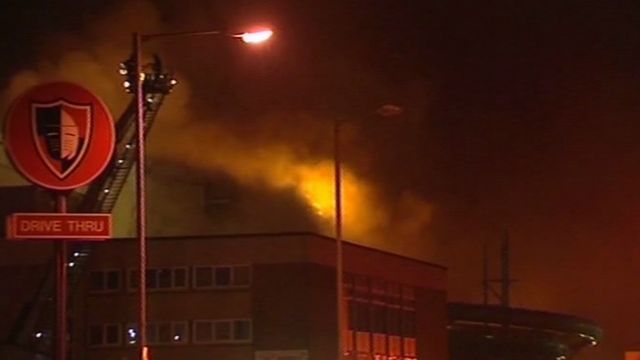 The Afan Lido in flames in December 2009