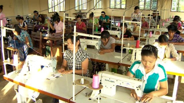 Workers at sewing machines