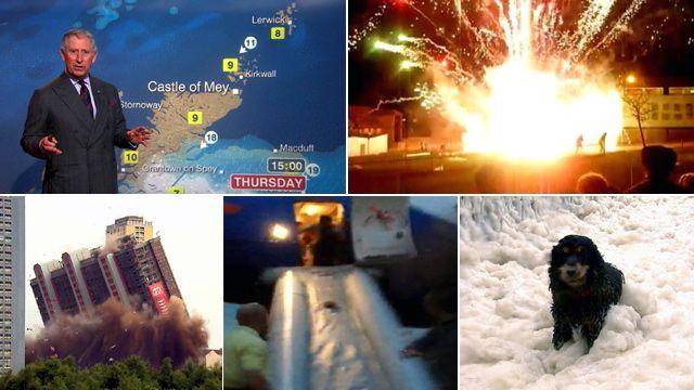 Prince Charles, fireworks, flats, plane, dog in foam