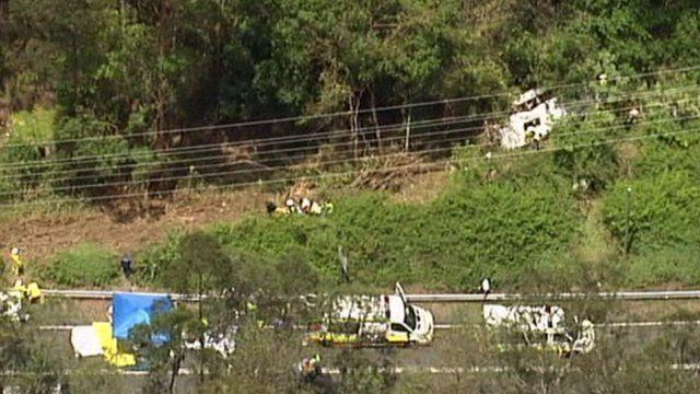 Scene of bus crash on Mount Tamborine in Queensland, Australia