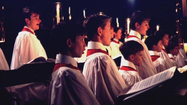 The famous chapel choir of The Chapel of Kings College Cambridge, in a celebration of Christmas. BBC TWO Wednesday, 24th December 1997.