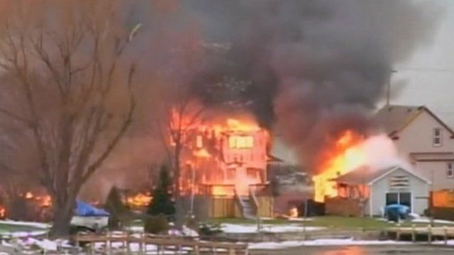 Homes on fire in Webster, New York