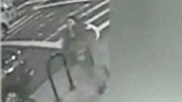 CCTV of woman running
