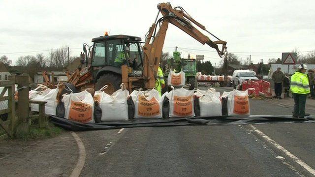 Construction of sandbag barrier