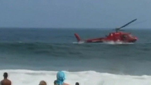 Helicopter in sea