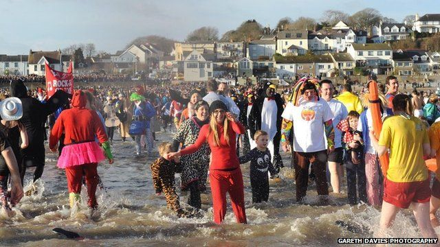 New Year swim 2013 at Saundersfoot in Pembrokeshire