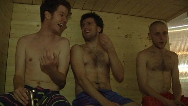 Men in a sauna