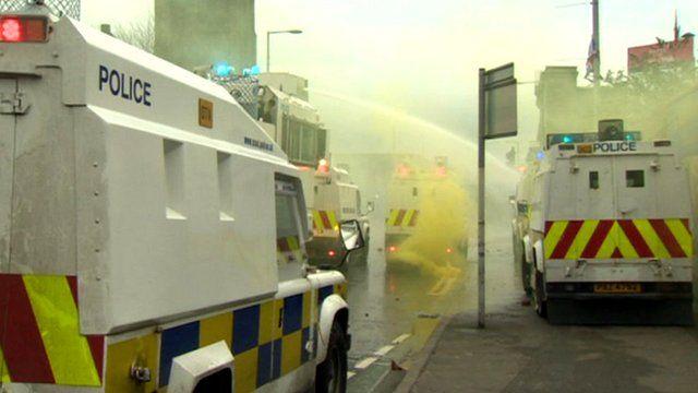 Police vehicles in Belfast