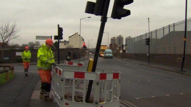 Damaged traffic lights