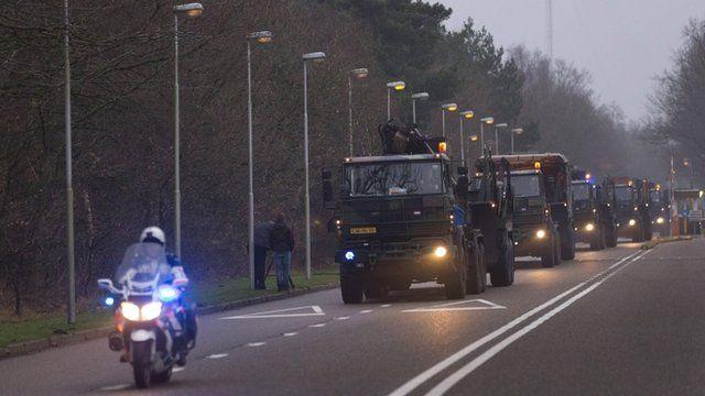 Patriot missiles on trucks
