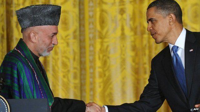 Hamid Karzai and Barack Obama meet in Washington - 12 May 2012