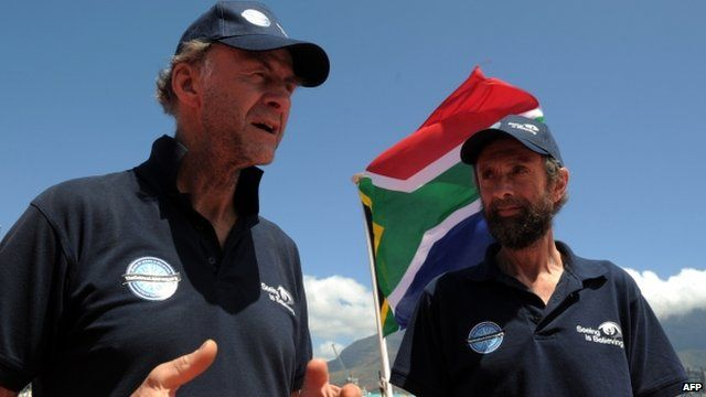Explorers Sir Ranulph Fiennes and Anton Bowring on January 6, 2013 in Cape Town