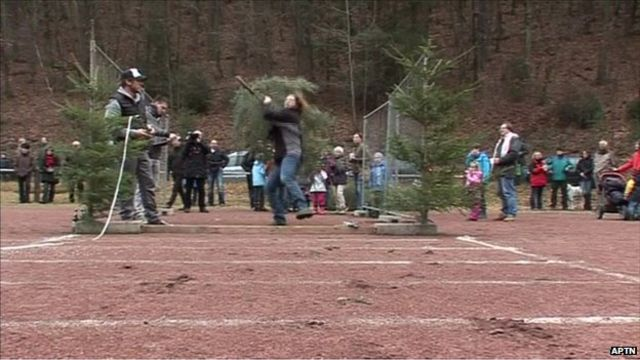 Christmas tree throwing contest