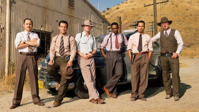 The all-star cast (L-R) Giovanni Ribisi, Josh Brolin, Ryan Gosling, Anthony Mackie and Michael Pena