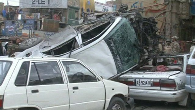 The scene of one of the blasts