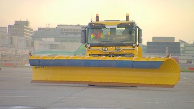 Snow clearing machine at Gatwick