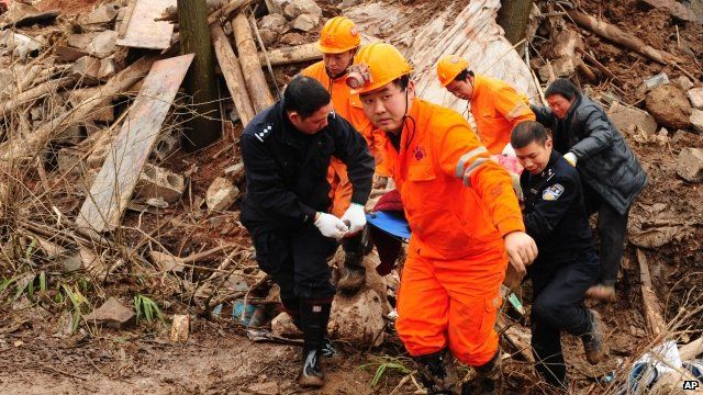 Rescue teams in China