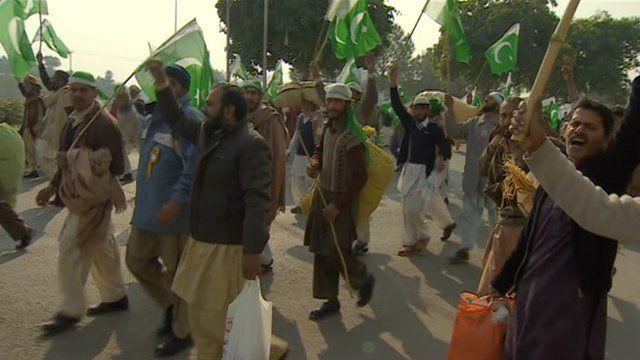 Supporters of Tahirul Qadri