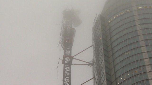 Smoke around crane