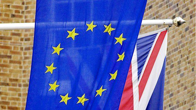 Union flag behind the European Union flag