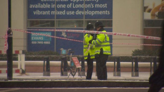 Scene of helicopter crash in Vauxhall, south London, on Friday, in the snow