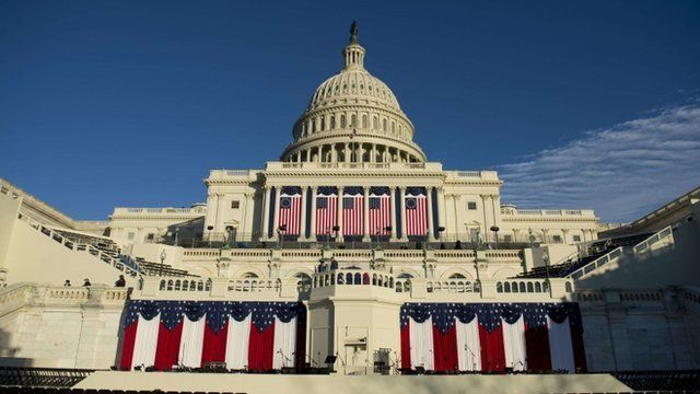 """Stage set for US President Barack Obama""""s second inauguration in Washington D.C"""