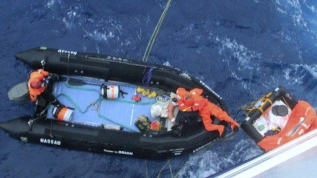Alain Delord being rescued by dingy