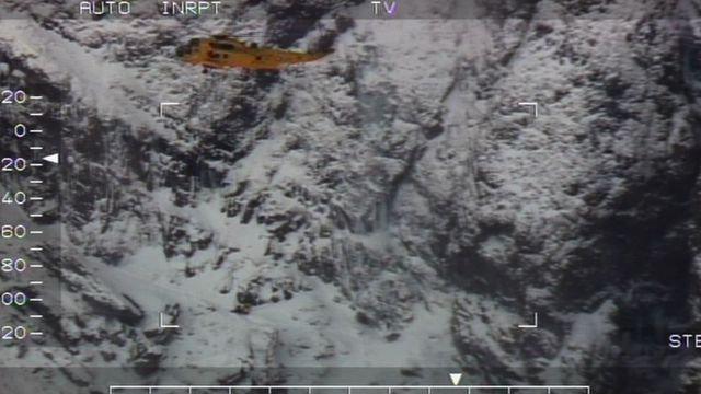 Seaking helicopter from RAF Valley in a rescue operation at Devil's Kitchen in Ogwen Valley, Snowdonia
