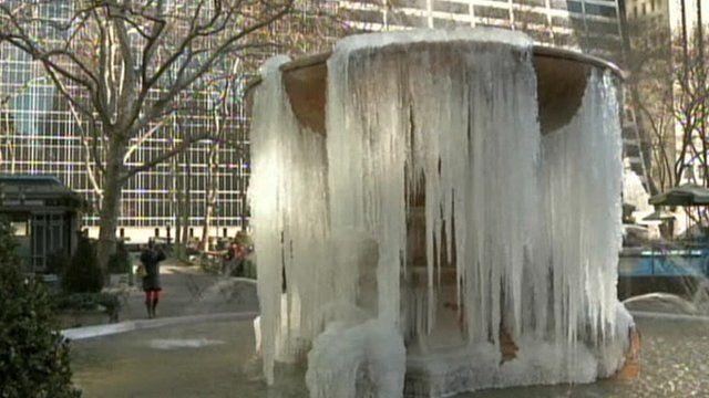 Partially frozen fountain in Bryant Park
